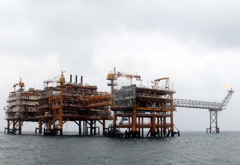 A Picture Shows The Iranian South Pars Quarter One (SPQ1) Gas Platform In The Gulf Near Qatar's Territorial Waters On January 26, 2011. AFP PHOTO/ATTA KENARE (Photo Credit Should Read ATTA KENARE/AFP/Getty Images)